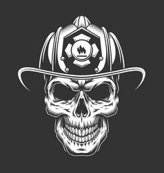Monochrome vintage fireman skull in helmet vector