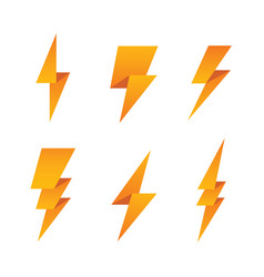 Paper lightning bolt icon set vector