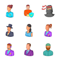 Personalization icons set cartoon style vector
