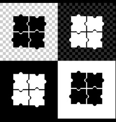 piece puzzle icon isolated on black white and vector image