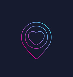 Pinpoint with heart dating linear logo vector