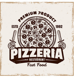 pizza emblem logo badge or label with vector image