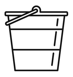 reconstruction metal bucket icon outline style vector image