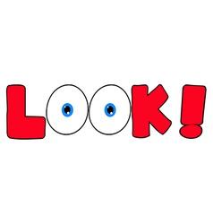 Red Cartoon Text Look vector image