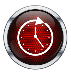 Red honeycomb clock icon vector image