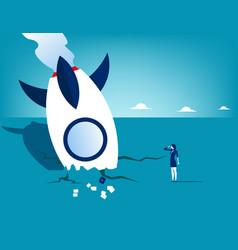 Rocket crash and businesswoman concept business vector