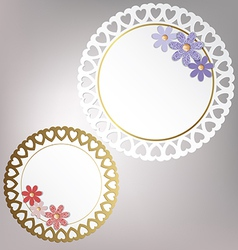 Round card with flowers vector image