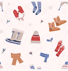 seamless pattern with knitted apparel and winter vector image