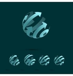 set abstract globe logo elements vector image