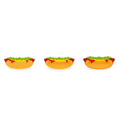 set hot dog vector image