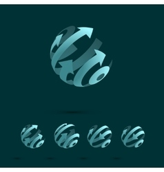 Set of Abstract Globe Logo Elements vector image
