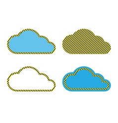 Set of clouds with a yellow black stripes vector image