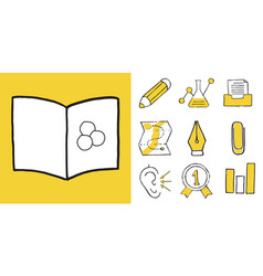 Set of educations sport and sciences doodle icons vector