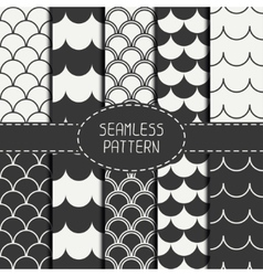 Set of seamless retro vintage marine geometric vector image