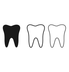 set tooth icons line art style vector image