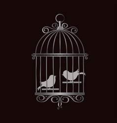 Silver vintage bird cage with bird silhouettes vector