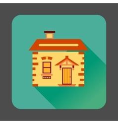 Small wooden house icon flat style vector image