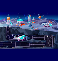 Space planet colonization cartoon vector