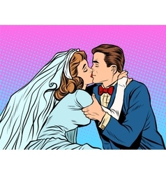 The bride and groom kiss vector