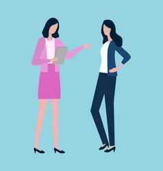 two women discussing business issues isolated vector image