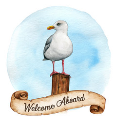 watercolor seagull on a wooden mooring pole vector image