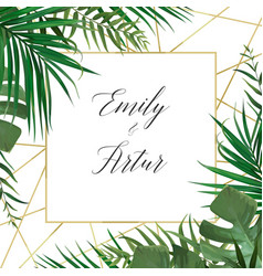 wedding tropical forest invitation card design vector image