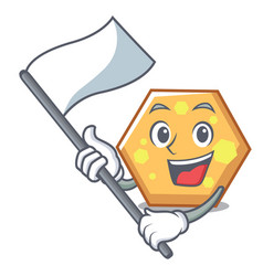 with flag hexagon mascot cartoon style vector image