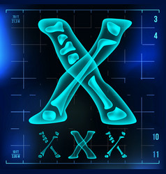X letter capital digit roentgen x-ray vector