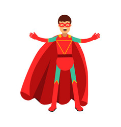 young masked man in a red superhero costume vector image