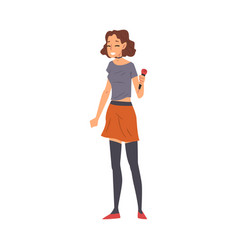 young woman with microphone reporter or singer vector image