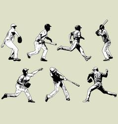 baseball players set - sketch vector image