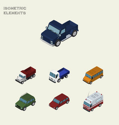 Isometric automobile set of lorry armored car vector