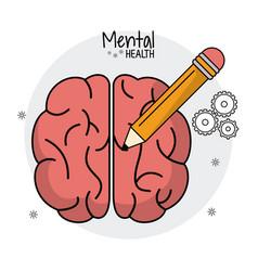 Mental health brain human pencil idea vector