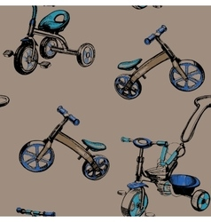 seamless pattern hand drawn baby scooters and vector image vector image