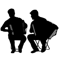 Silhouette of two musicians bayan on white vector image