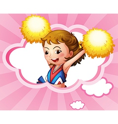 A cheerdancer with yellow pompoms vector image vector image