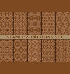 beautiful geometric seamless patterns set vector image vector image