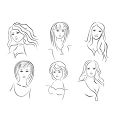Six beautiful young women portraits vector image vector image