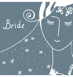 Wedding invitation with bride vector image vector image