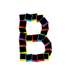 Alphabet B with colorful polaroids vector image vector image