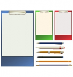 clip pad and pens vector image vector image