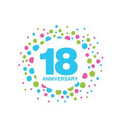 18th anniversary colored logo design happy vector image vector image