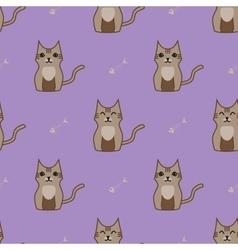 Brown cartoon cute cat background vector image