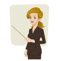 Businesswoman pointing something vector image vector image