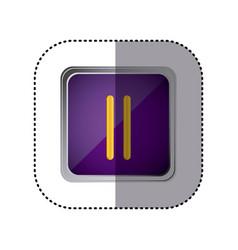 purple emblem pause button vector image vector image