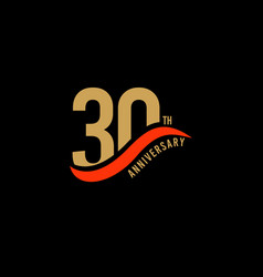 30 year anniversary gold template design vector