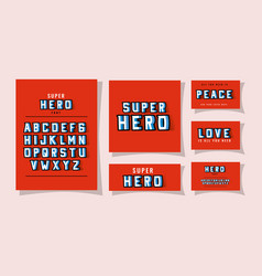 3d super hero font lettering and alphabet on red vector image