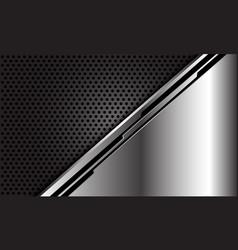 Abstract silver black line cyber dark circle mesh vector
