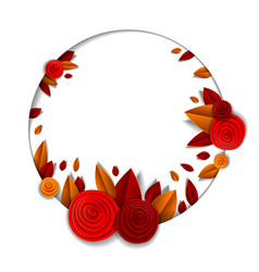background with flowers and autumn leaves paper vector image