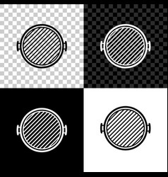 barbecue grill icon isolated on black white and vector image